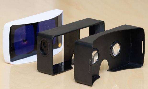 The hand-held headset is modelled on Google's original Cardboard DIY headset, and utilises the Cardboard development environment and applications