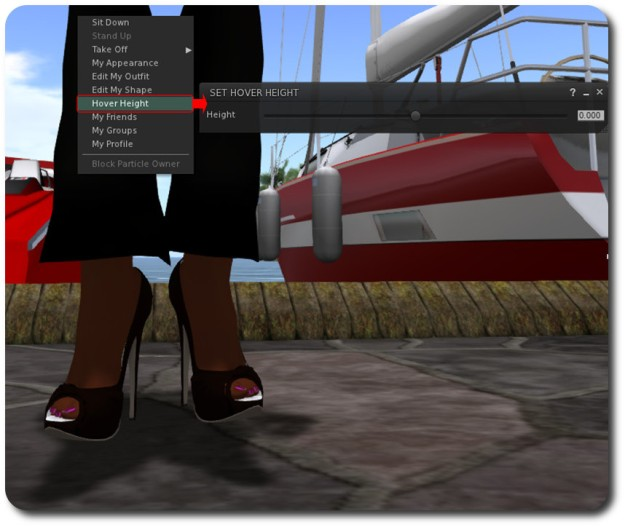 A simple example: by default, my avatar (sized to a height of 5ft 10in, slightly taller than the in-the-flesh me!), appears to be hovering above the ground. With AHH, accessible through the right-click avatar context menu...