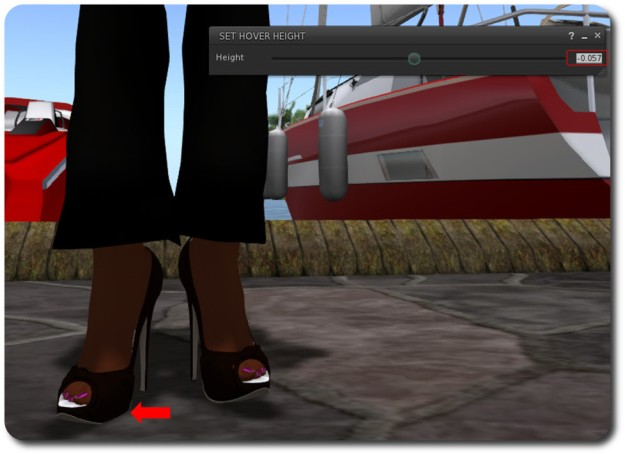 "I can use the slider or spinner to quickly adjust my height so I am standing ""on"" the ground . This can also be used for adjusting your apparent height when ground sitting, kneeling, sitting on unscripted furniture, using poseballs, etc."