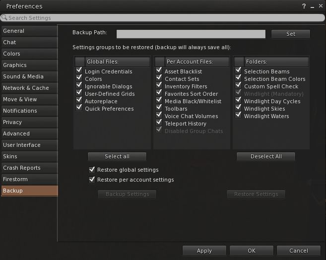 Firestorm's settings backup feature can help remove some of the pain involved in a clean install, by allowing you to save many of your preferred global and account setting locally, and then quickly restore them after a clean install of a new version of the viewer