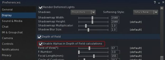 The new option for enabling / disabling the inclusion of alphas is DoF and volumetric lighting calculations. The option is unchecked (alpha inclusion disabled) by default