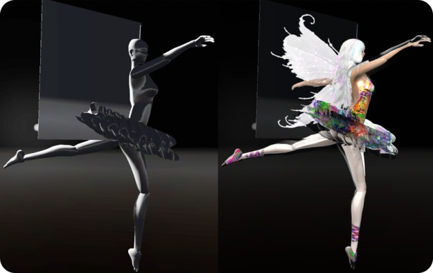The power of projected lights - the image on the left shows an untextured figure; on the right, the same figure, lit entirely by projected lights. FreeWee's Laboratory v.8.0: Music, Myth, Magic, Light, Shadows, Physics, LEA27