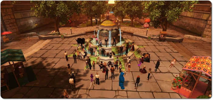 The group gathers for selfies at the Meauxle Bureaux fountain during the Wednesday, March 25th meet-up with Linden Lab folk
