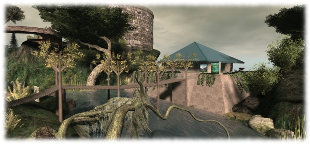 Seanchai's centre in Inworldz sits comfortably nestled on the east side of Sendalonde, and is connected to the Community Library via a wooden bridge