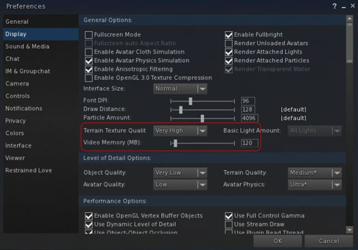 Up until the 2.4.1.9 release, Black Dragon, like most viewers, offered a single slider for setting the amount of video memory which could be dedicated to texture processing by the viewer