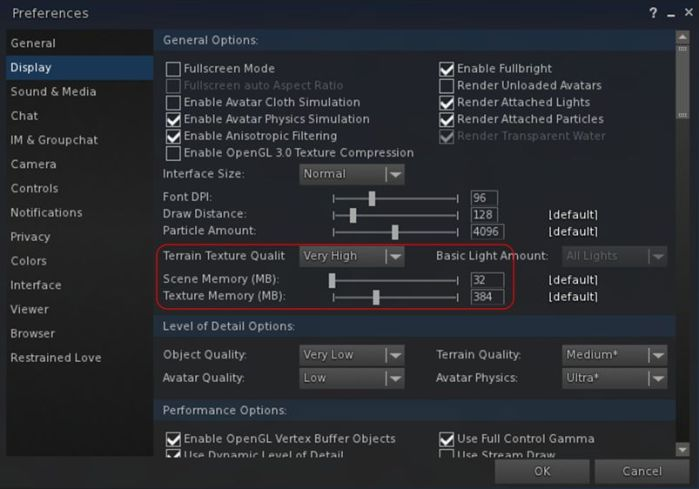 """With Black Dragon 2.4.1.9 , Niran has attempted to """"split"""" how video memory is used  by the viewer into two adjustable """"pools"""", one for global textures (which include UI elements), and one just for just the current scene textures"""