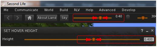 The RLV avatar height slider (top bar) is now tied to the Avatar Hover Height functionality. Notice the top bar operates to 2 decimal places and AHH to 3, so small rounding differences are to be expected when comparing the two