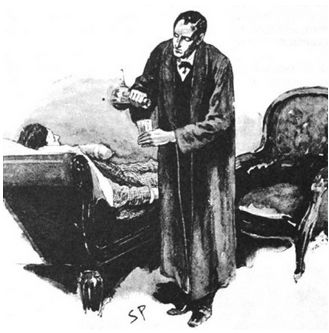 Holmes offers the injured Hatherley a drink whilst listening to his story (image: Sidney Paget, 1892)