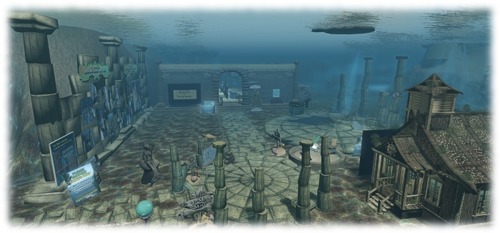 The welcome are for the merfolk community at Fanci's Deep, with the entrance to the Safe Water Foundation beyond