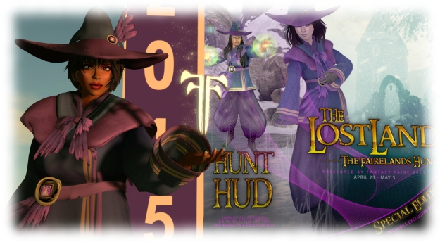 The special edition hunt HUD includes a costume for you to wear, designed by June Dion of Bare Rose. When you purchase the HUD package, wear it (shown in my hand) and touch it to unpack it to your inventory