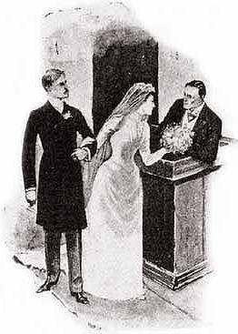 Was it nerve that cause Miss Hatty Doran to drop her bouquet at her wedding? and who was the gentleman who picked it up for her?