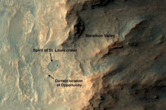 """Spirit of St. Louis"" is located close the Endeavour Creater, which Opportunity has been slowly circumnavigating, and is now a prime target for study following input from the ISS Expedition 43 crew"