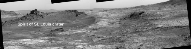 "A mosaic of the ""Spirit of St Louis"" crater, captured by Opportunity"