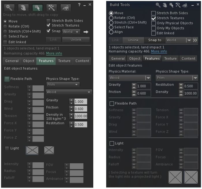 The official viewer's Build floater Features tab (l) and Niran's revised layout in black Dragon (r)
