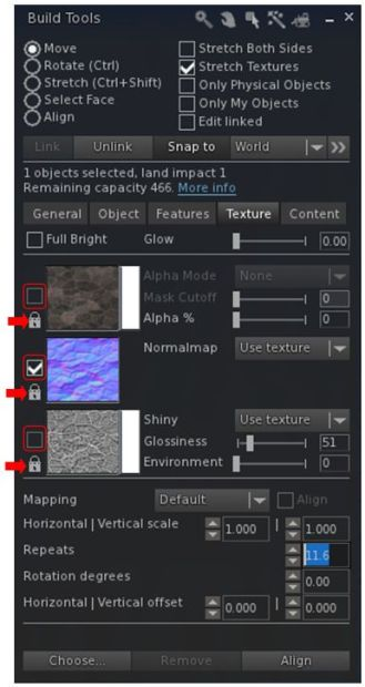The Texture tab now has clearer map selection check boxes (outlined) and individual lock options for applying rotations, offsets, etc., via the spinners (arrowed)