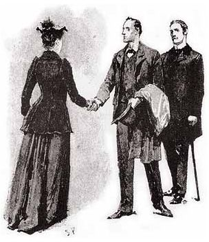 Violet Hunter greets Holmes and Watson as they respond to her telegram and travel to Hampshire  - Sidney Paget, 1892