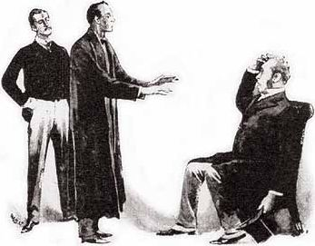 Holmes seeks to calm the distraught Holder (Sidney Paget, 1892, The Strand Magazine)