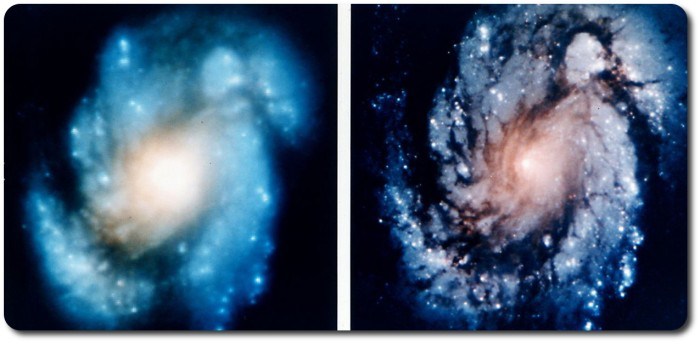 Before and after: on the left, an image of the spiral galaxy M100 taken on on November 27th, 1993, without the corrective optics and camera system. On the right, M100 imaged by Hubble on  December 31st, 1993, after the installation of the corrective optics and camera system