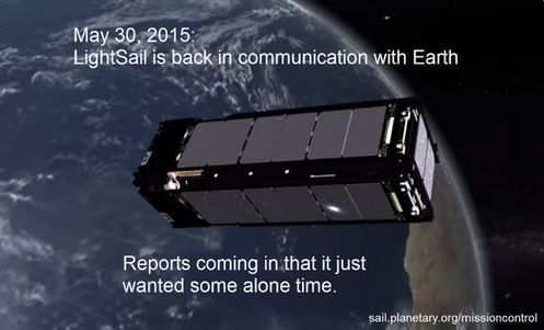 The Planetary Society announces Lightsail 1 back in communication, May 30th, 2015