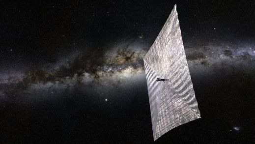 An artist's impression of a Lightsail CubeSat with its sail fully deployed