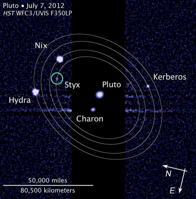 The Pluto-Charon system images by the Hubble Space Telescope in 2012, showing the moons orbiting both which have so far been discovered:
