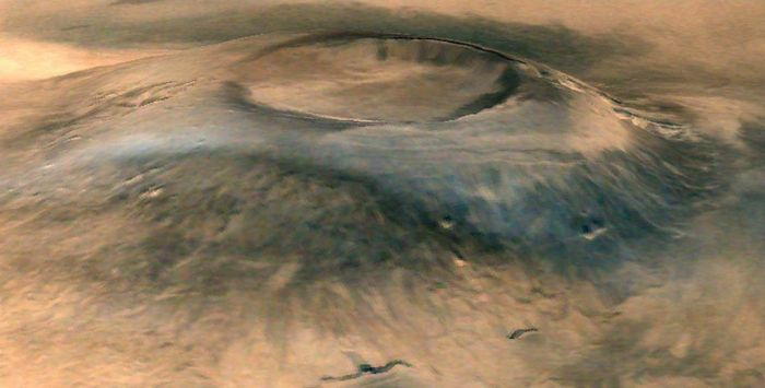 The mighty Arsia Mons on Mars, largest of the three Tharsis Bulge volcanoes. The image shows a deliberate vertical exaggeration to the volcano's slope