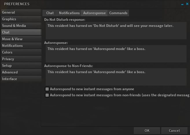 Alchemy's new Auto Response tab in Preferences > Chat