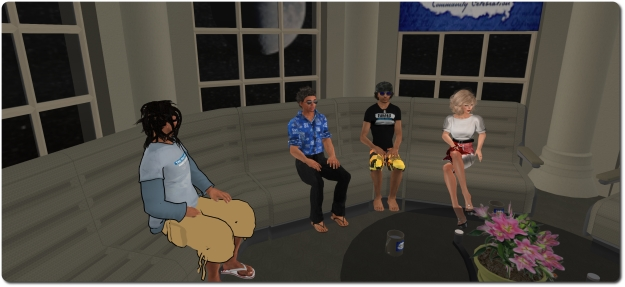 Danger Linden (centre left) and Troy Linden (centre right) discuss Second Life and Project Sansar with Draxtor Despres and Saffia Widdershins at SL12B