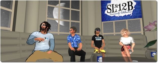 Draxtor Despres, Danger Linden, Troy Linden and Saffia Widdershin at the Meet the Lindens at SL12B, the series which acted as a precursor to Lab Chat