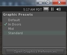The new Graphics Presets icon profiles a quick menus of applying previously saved graphics presets and accessing Graphics Preferences