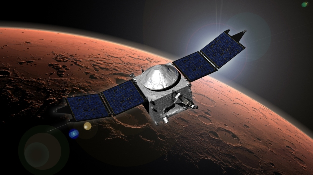 An artist's impression of MAVEN in orbit around Mars (NASA / JPL)