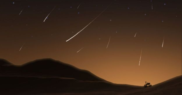 An artist's impression of meteors resulting from comet Siding Spring in the sky over NASA's MSL Curiosity rover