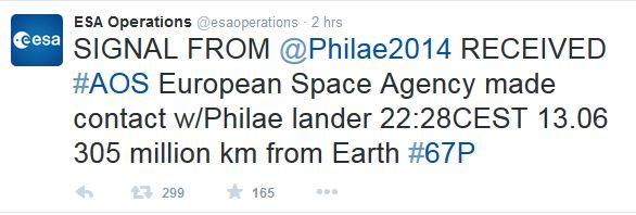 ESA Operations announced contact re-established with the comet-landing Philae