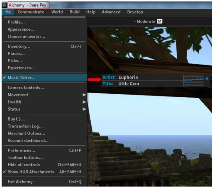 Some of Alchemy's new additions: displaying the avatar name in the viewer title bar and the audio information floater