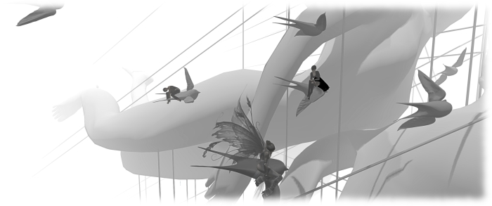 Indie Tepee: I take a break with Bryn Oh (foreground) and cica Ghost (right) on Bryn's birds - although she and cica sit on their perches a lot me elegantly than I do (at the back)!