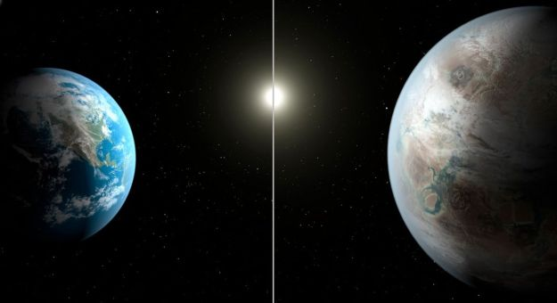 Earth (l) and Kepler (r) sun with there respective stars, as each might look from orbit