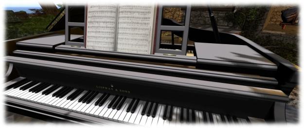 A closer look at the keyboard and sheet music...