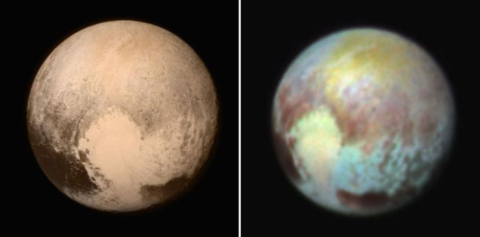 July 13th: two views of Pluto. On the left is an approximate true-colour image of the surface of Pluto, captured by the LORRI imaging system on New Horizons, and colour-enhanced by data obtained by the Ralph suite of instruments. On the right, a false-colour image indicating the compositional differences comprising Pluto's surface