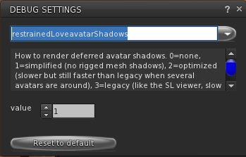 UKanDo 3.8.0 also includes Marine Kelley's RLV 2.9.12 update, with the avatar shadow rendering debug setting to help with rendering performance when running with shadows enabled and surrounded by avatars using mesh bodies & other rigged mesh attachments