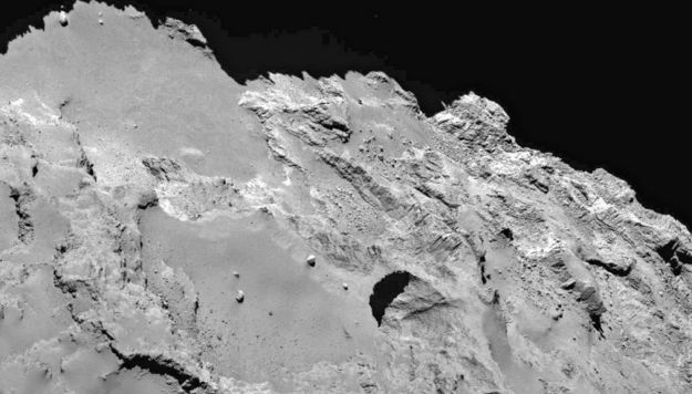One of the more massive new sinkholes on comet 67P/C-G likely formed as a result of subsurface ice melting and being outgassed as the comet is heated by the Sun, and then the rock above the cavern left by the ice collapsing