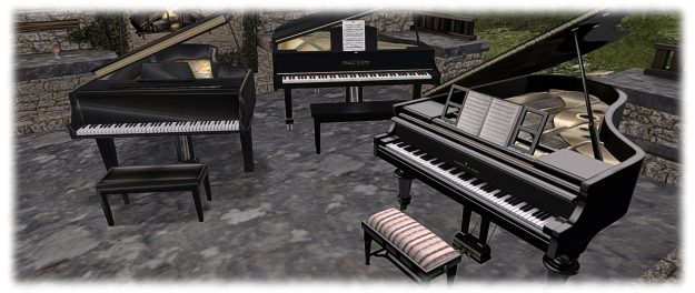 Over the years: my three pianos: rear right - the all prim Musical Alchemy; left: the sculpted PrimPossible concert grand; right foreground: the LISP Bazaar mesh concert grand