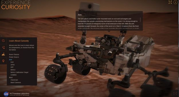 Experience Curiosity allows you to learn about the rover using a 3D model which can be manipulated and driven, using a WebGL application