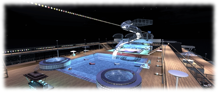 The revised upper deck pool, with new slide and the new dance floor beyond