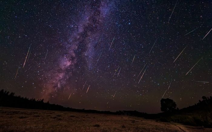 A stunning composite image by  Michael Menefee  showing 324 25 second shots during the 2012 Perseid meteor shower