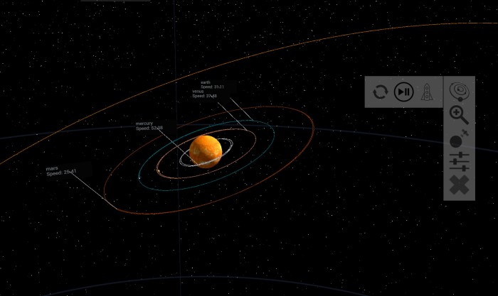 Bridget's solar system model correctly simulates the movement of planetary bodies around a stellar object , utilsing both Newton's and Kepler's laws, thus producing a dynamic teaching model for orbital mechanics and gravity