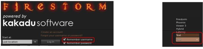 The Text Mode option, accessed from the Select mode drop-down on the right of the log-in / splash screen enables you to run Firestorm without 3D graphics on a low-end system - menus and buttons will still be accessible, as will floaters. The Remember user name check box (highlighted above left) is also a new feature, restoring the functionality last seen in Pheonix
