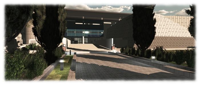 "Incorrect thinking: just because a campus region is empty of other avatars doesn't necessarily mean it is ""abandoned"" (image: UWA campus, Second Life)"