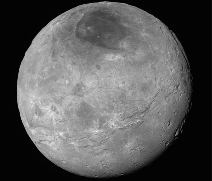 Charon, Pluto's largest companion, as seen by New Horizons on July 14th, 2015, from a distance of some 464,000 kilometres (290,000 miles), revealing a rich and diverse range of surface features