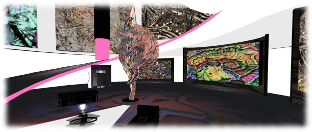 The Lipstick Tower in features (among other things) a display of art by SL artist jjccc Coronet