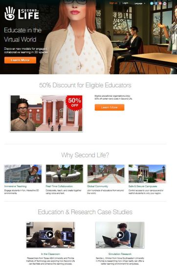 A part of the education landing page, which includes links to details on the education discount, the SL education wiki,